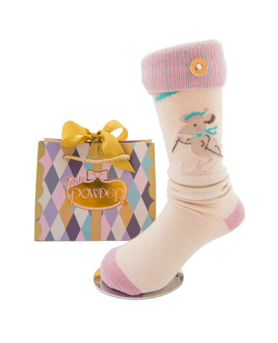 Girls Powder Design Pink Skiing Mouse Long Socks in Pretty Gift Bag Age 2-4