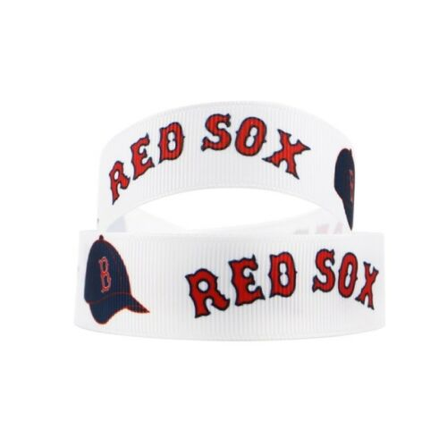 "GROSGRAIN BOSTON RED SOX BASEBALL 7//8/"" INCH GROSGRAIN RIBBON FOR HAIR BOWS"