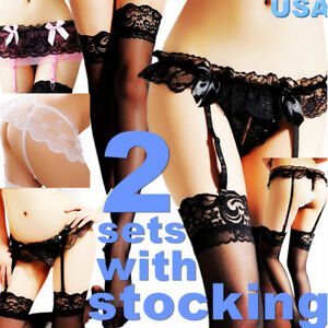 818125e5034ea 2 Sexy Women Lace Stocking Sock+Garter Belt Suspender Top Lingerie ...