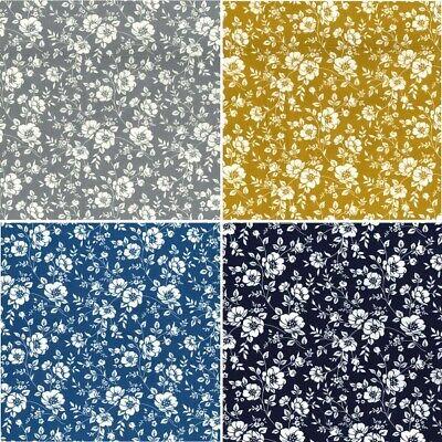 100/% Cotton Poplin Fabric Rose /& Hubble Green Street Floral Vines Flowers