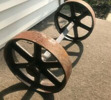 2 Antique Factory Cart Iron Axle Wheels Industrial