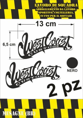 KIT 2 ADESIVI WEST COAST 13x6,5cm auto moto decal sticker racing tuning adesivo