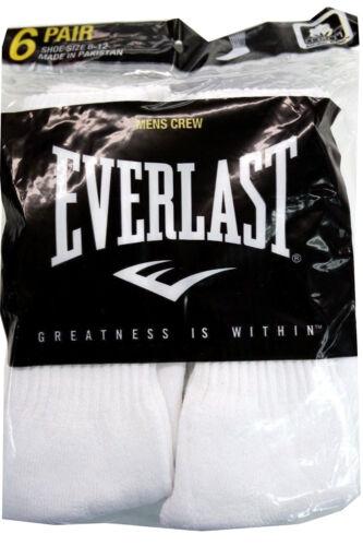 EVERLAST 6 Pairs  Men/'S Cotton Crew Socks Pack Shoe Size 6-12