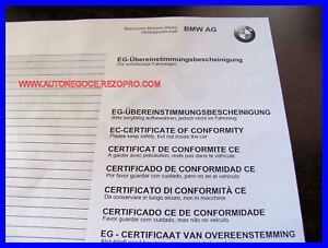 certificat de conformit bmw mini ebay. Black Bedroom Furniture Sets. Home Design Ideas