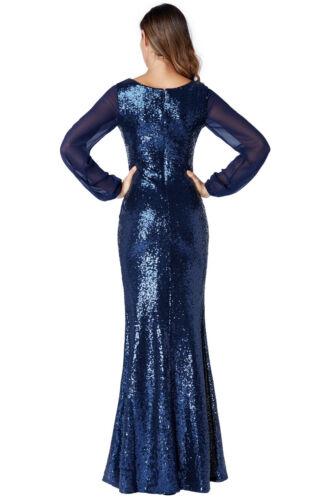 Goddiva Sequin Long Sleeve Chiffon Sleeve Evening Maxi Dress Prom Party Formal