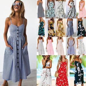 Womens-Button-Pocket-Midi-Dress-Summer-Strappy-Beach-Holiday-Boho-Swing-Sundress