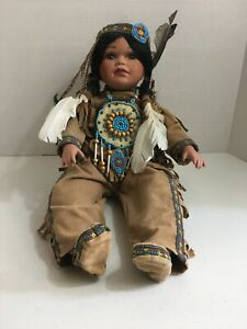 Timeless-Ltd-Collection-Porcelain-Native-American-Indian-Girl-Doll-20-Sitting