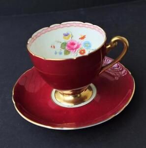 Antique SHELLEY Tea Cup And Saucer Marroon Red and white tea cup and saucer Shelley china Red tea cup.