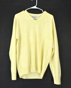 Geoffrey-Beene-Men-039-s-Medium-Long-Sleeve-V-Neck-Acrylic-Yellow-Sweater