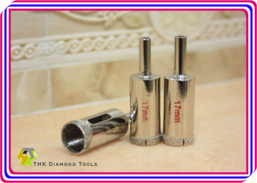 3 pieces 17mm THK Diamond coated drills drill bit bits hole saw core glass tile