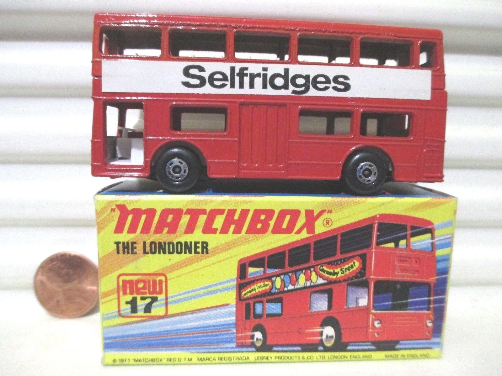 LESNEY MATCHBOX MB17B 1972  la petite  Rouge Selfridges Bus Comme neuf in Comme neuf BOX