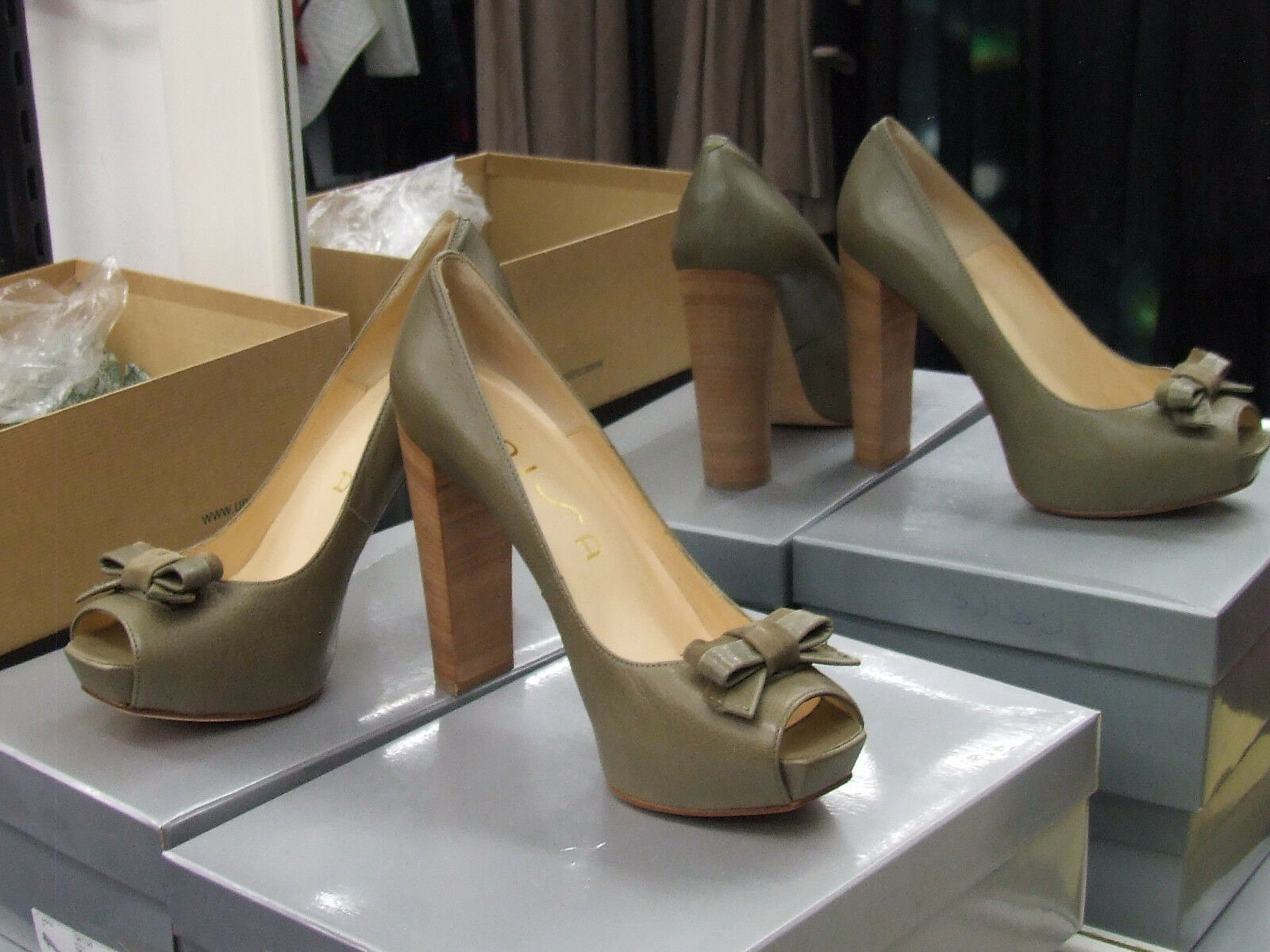 BNIB UK 7.5 Divine Green Very High Heel Moss Green Divine Peep Toe & Bow Leather Shoes EU 41 836357