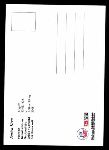 Enrico Kern Autogrammkarte Hansa Rostock 2007-08 Original Signiert A 121006