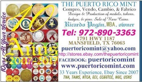 1968 RON RICO Licor PUERTO RICO Hemisferio americano Medalla BUENA SUERTE