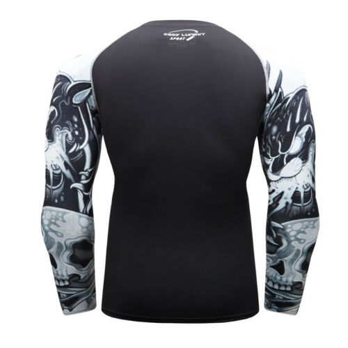 Men/'s Compression Shirts Workout Tops Long Sleeve Quick-dry Gym Fitness Printing