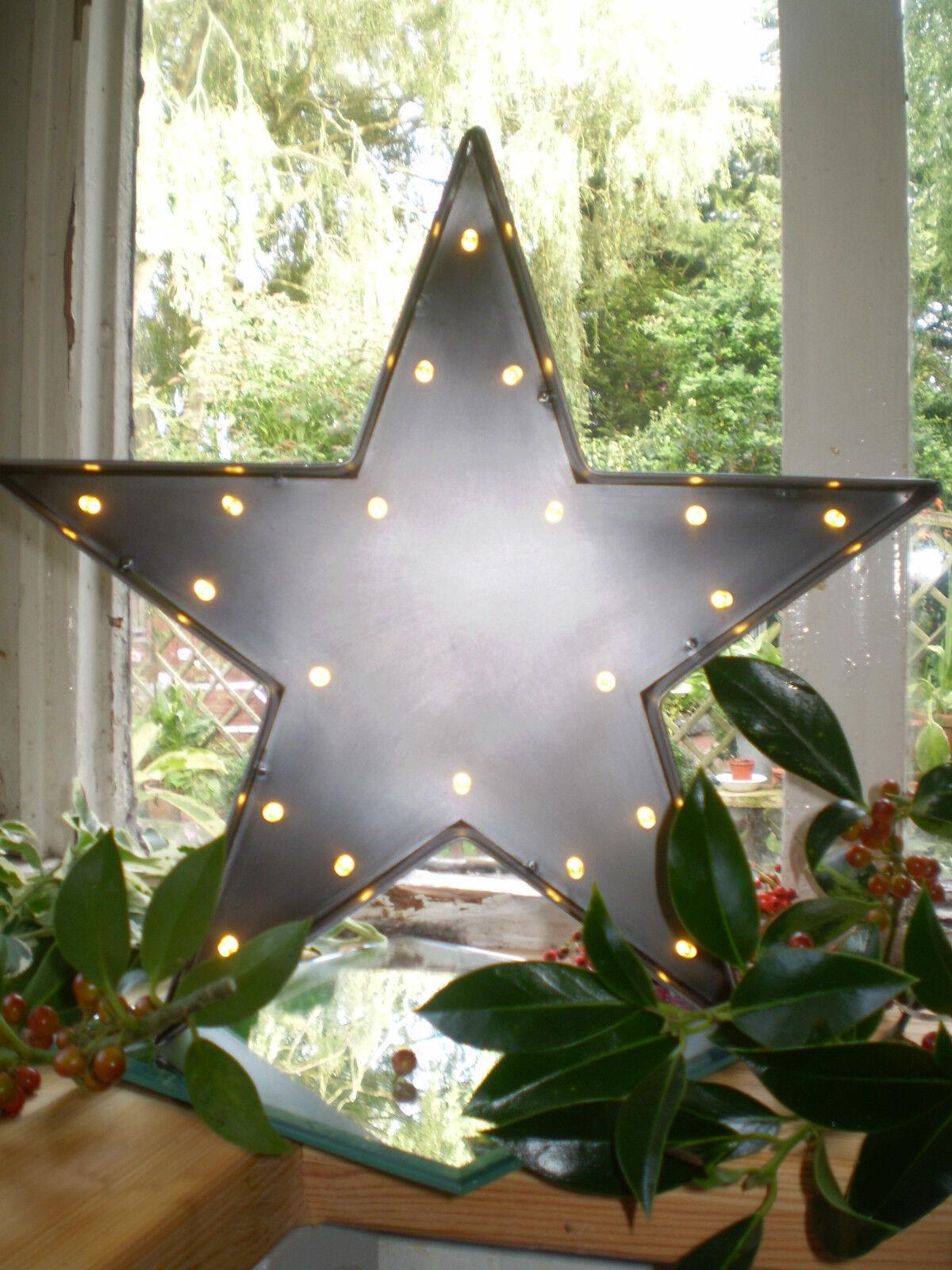 Inglés industrial romántica romántica romántica Lámpara LED Estrella de acero cepillado metálico en espejo. f6f493