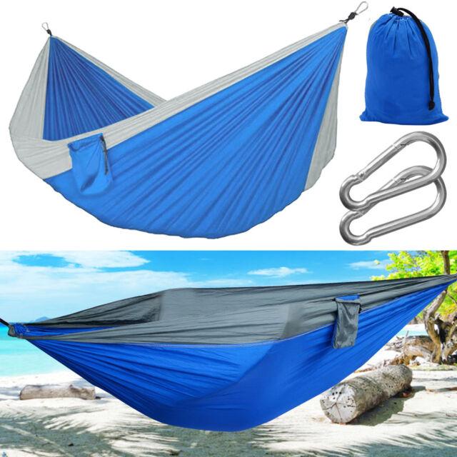 2 Person Outdoor Camping Hammock Nylon Parachute Hanging Sleep Bed Travel Beach