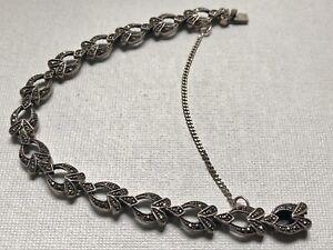 Vintage sterling silver mid-century art deco style 7 marcasite bracelet c1950/'s