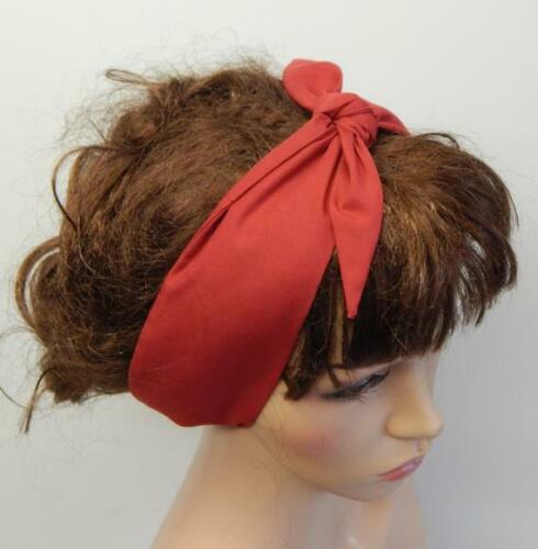 Red self tie headband retro head wrap rockabilly bandanna 50s pin up head scarf