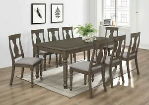 Details About Modern Clic Grey Finish 9pc Dining Set Table And 8 Side Chairs