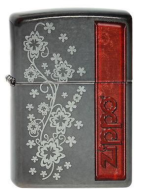ZIPPO Feuerzeug FLOWER DESIGN 4 in Grey Dusk Zippo Logo Blumen NEU OVP
