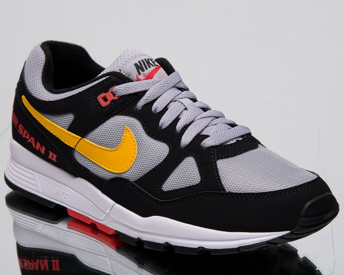Nike Luft Span II Herren Neu Schwarz Gelb Freizeit Lifestyle Turnschuhe AH8047-010