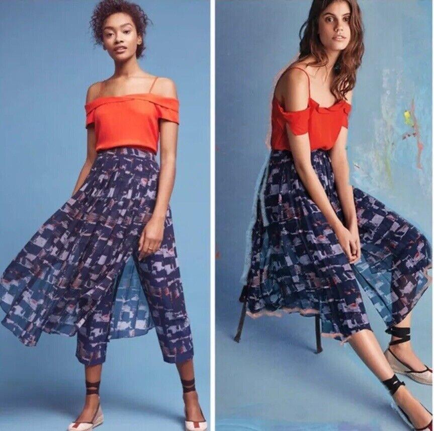 Anthropologie HD in Paris Skirted Waterfront Pants Blau Motif Skirt Größe 4