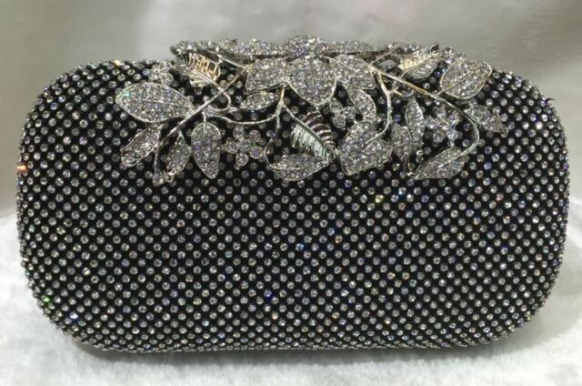 Black/Silver ~ Flower Logo Crystal Clasp Bridal / Evening Clutch Purse Party Bag