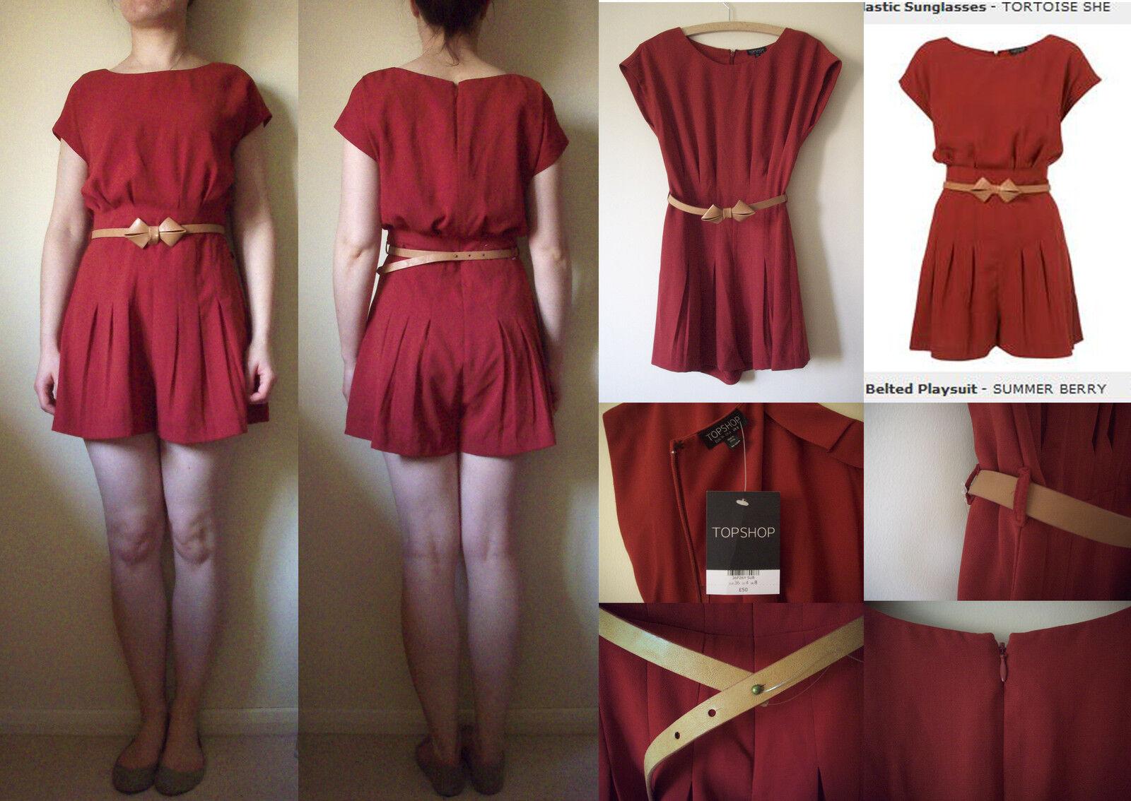 TOPSHOP Berry Red Short Retro Vintage Playsuit Romper Jumpsuit 8 36 NWT £50