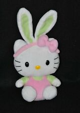 Peluche Doudou Chat HELLO KITTY SANRIO Rose Vert Oreilles Lapin 14 Cm Assis TTBE
