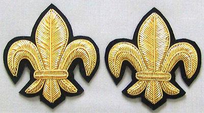 "2 Hand-Embroidered Appliques Gold Fleurs De Lis Metallic Bullion 2½"""