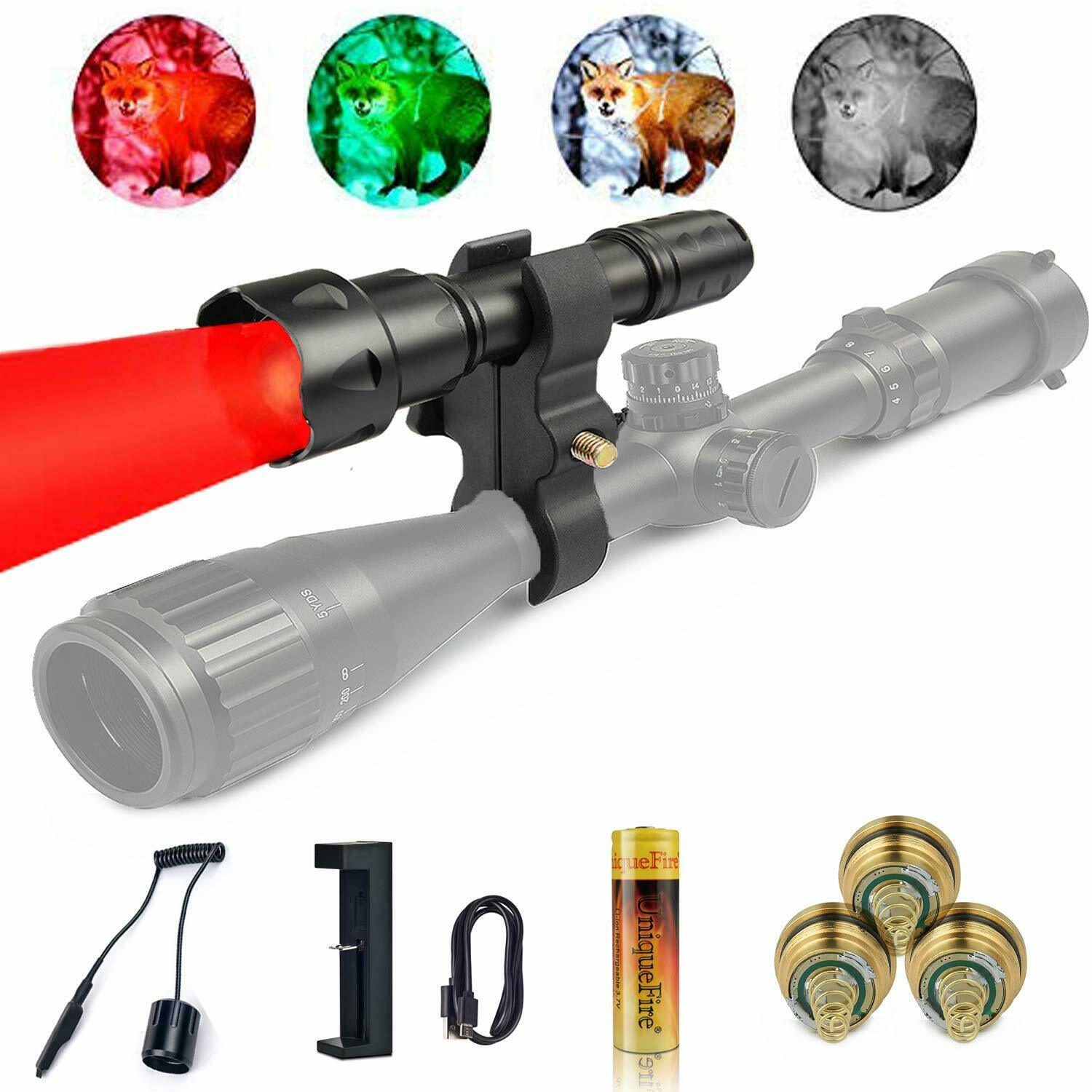 Hunting T20 Red  Light Flashlight Torch+Mount+Pills+Remote Switch+Charger+Battery  quality product