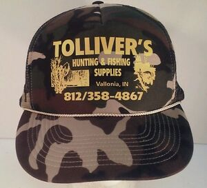 ec1b25211db69 Details about Vintage Tolliver's Hunting & Fishing Supplies Camouflage  Snapback Hat Rope Front