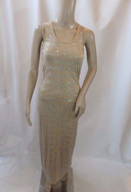 Torn by Ronny Kobo Beige Sleeveless Embellished Maxi Dress Größe XS