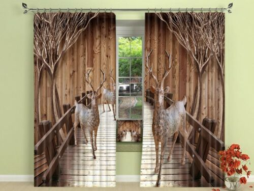 Window Curtains 3D Printing Blockout Drapes Fabric Rustic Wooden Floor Tree Deer