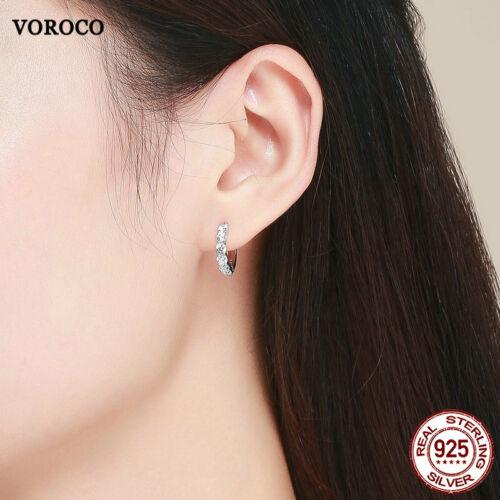 Voroco S925 Argent Sterling Neuf Clous d/'oreilles Shining Charm Zircon pour Femmes Bijoux