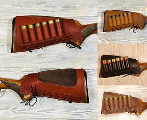 Leather-Shotgun-Butt-Stock-Shell-Holder-Cover-Cheek-Rest-Sraight-Buttstock-Model