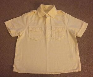 Boys-NEXT-Short-Sleeve-Pull-On-Lemon-Linen-Shirt-Top-Age-3