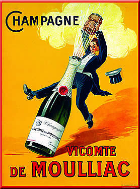 French Advertising Sign Count de Moulliace Champagne