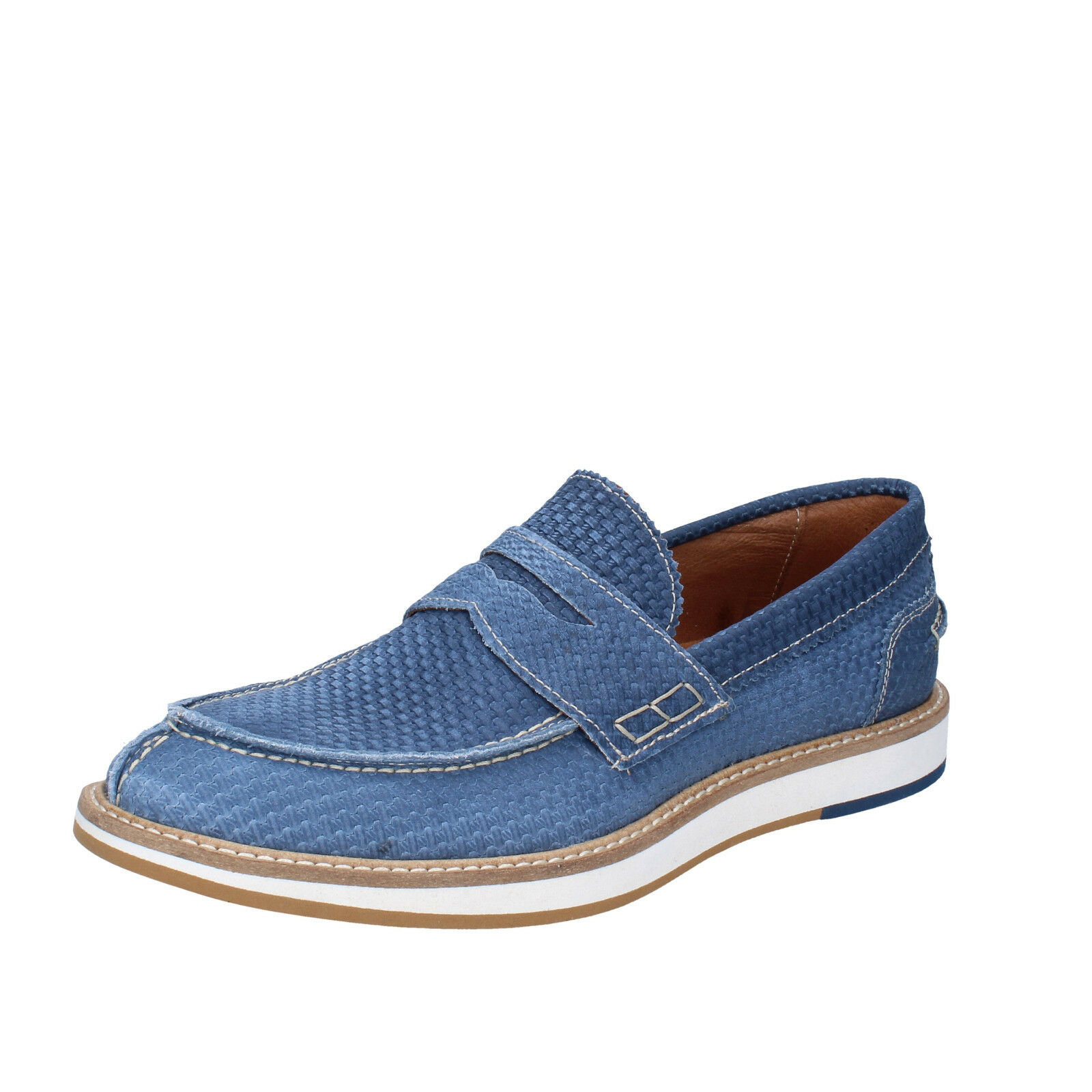 Mens shoes +2 MADE IN ITALY 6 () loafers elegant bluee nabuk BT691-40