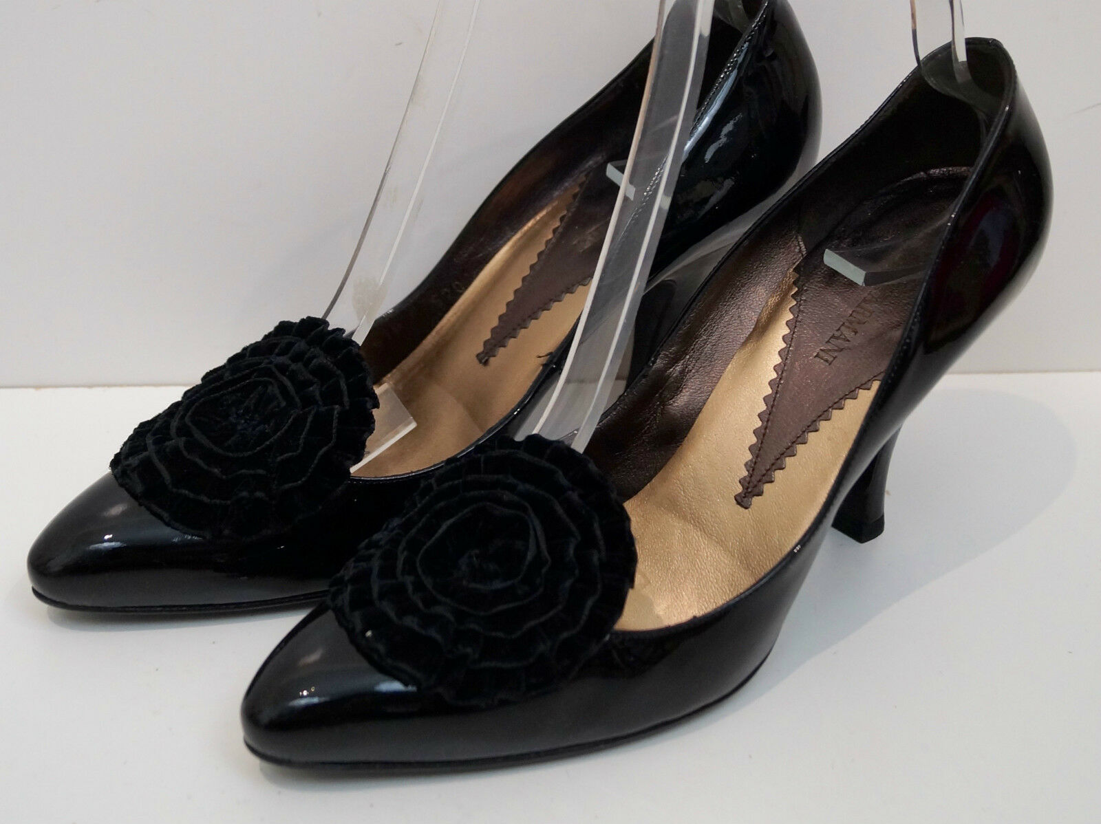 GIORGIO ARMANI Black Leather Patent Velvet Floral High Heel Court shoes EU40 UK7