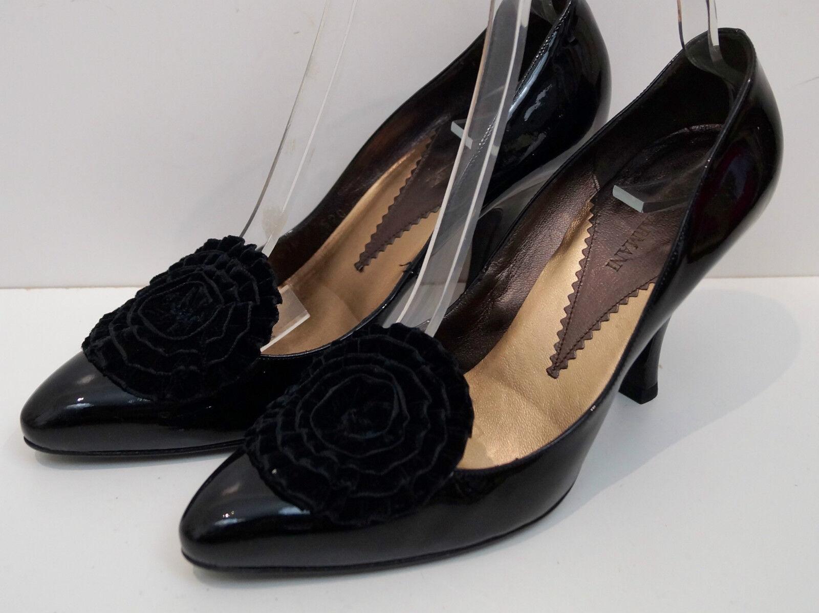 Felice shopping Giorgio ARMANI nero nero nero in pelle in vernice velluto floreale tacco alto plateau EU40 UK7  essere molto richiesto