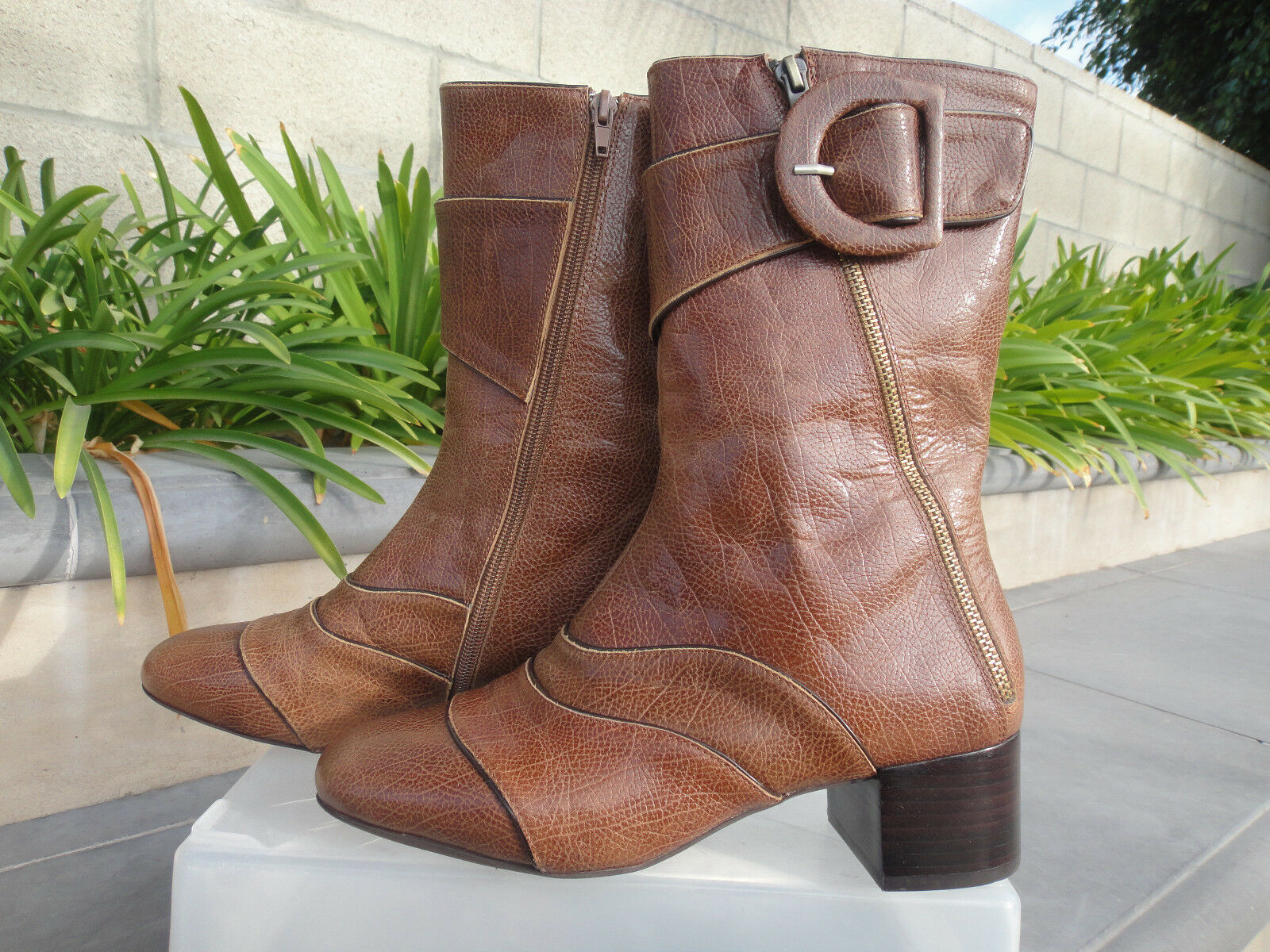 Jeffrey Campbell PHASMA Mid Calf Boots, Tan Pebble Leather, Choose 8M or 9M(SO)