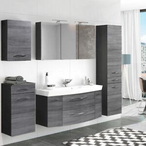 Details zu Komplett Badezimmer-Möbel Set 120cm Waschtisch Spiegelschrank  Eiche Hochschrank