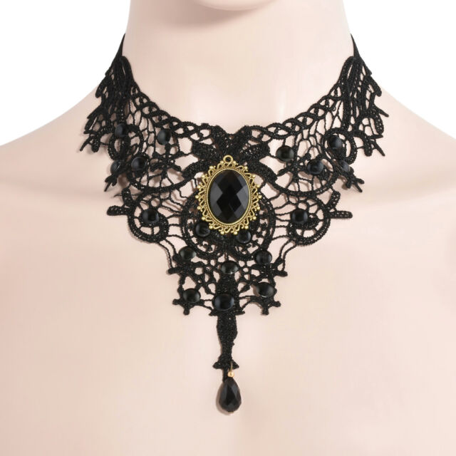 Gothic Black Lace Choker Necklace Metal Cameo Jewel Steampunk Cosplay  Jewelry 2a95f6aaef9d