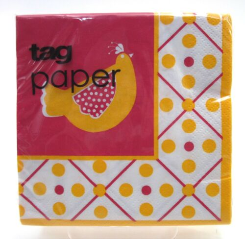 TAG PAPER Cocktail Napkins Chicken Design ~ 20-3-Ply Paper Napkins ~ New