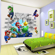 3D Super Mario Wall Sticker Kids Bedroom Removable PVC Mural Decals Room Decors