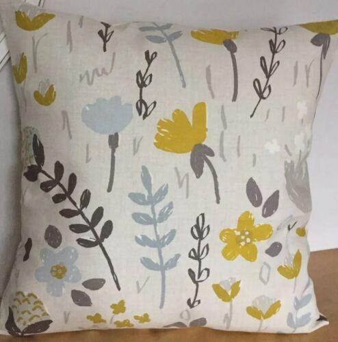 """ocre et gris motif floral 16/"""" Housse de coussin Fryetts Clara Chartreuse"""