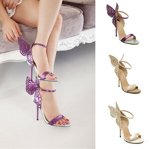 Fashion New Women Stilettos Butterfly Wings Ankle Strap High Heels Sandals Shoes