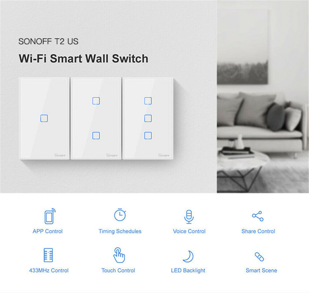 Sonoff TX T2 Intelligent Remote Wi-Fi Smart APP Voice Touch Control Wall Switch
